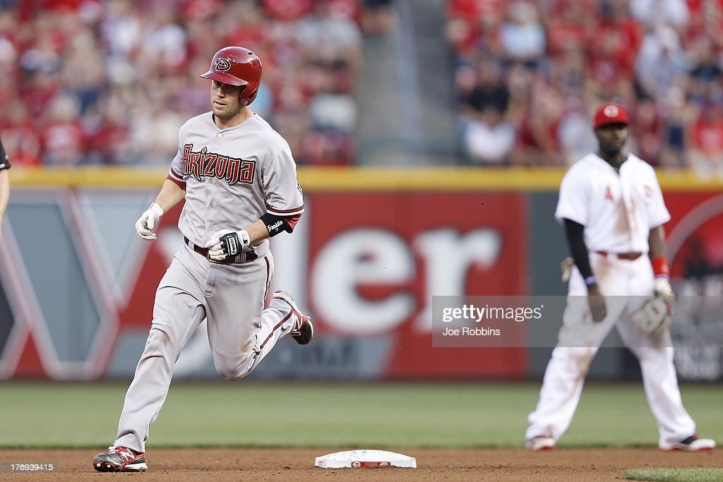 <a gi-track='captionPersonalityLinkClicked' href=/galleries/search?phrase=Aaron+Hill+-+Baseball+Player&family=editorial&specificpeople=239242 ng-click='$event.stopPropagation()'>Aaron Hill</a> #2 of the Arizona Diamondbacks rounds the bases after hitting a home run in the fourth inning of the game against the Cincinnati Reds at Great American Ball Park on August 19, 2013 in Cincinnati, Ohio.