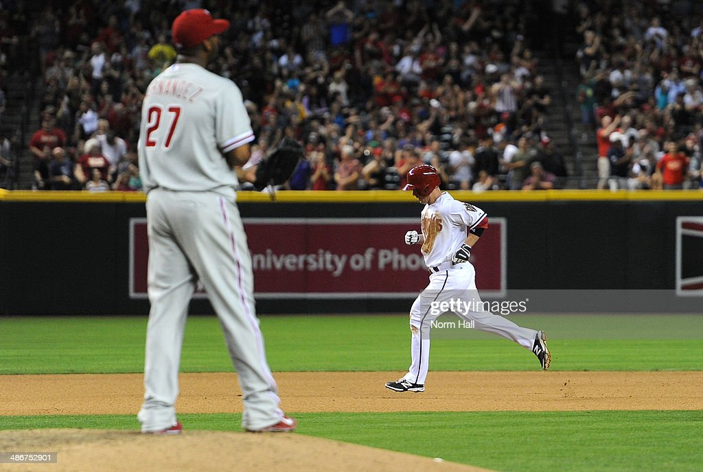 <a gi-track='captionPersonalityLinkClicked' href=/galleries/search?phrase=Aaron+Hill+-+Baseball+Player&family=editorial&specificpeople=239242 ng-click='$event.stopPropagation()'>Aaron Hill</a> #2 of the Arizona Diamondbacks rounds the bases after hitting a two run home run in the fourth inning against the Philadelphia Phillies at Chase Field on April 25, 2014 in Phoenix, Arizona.