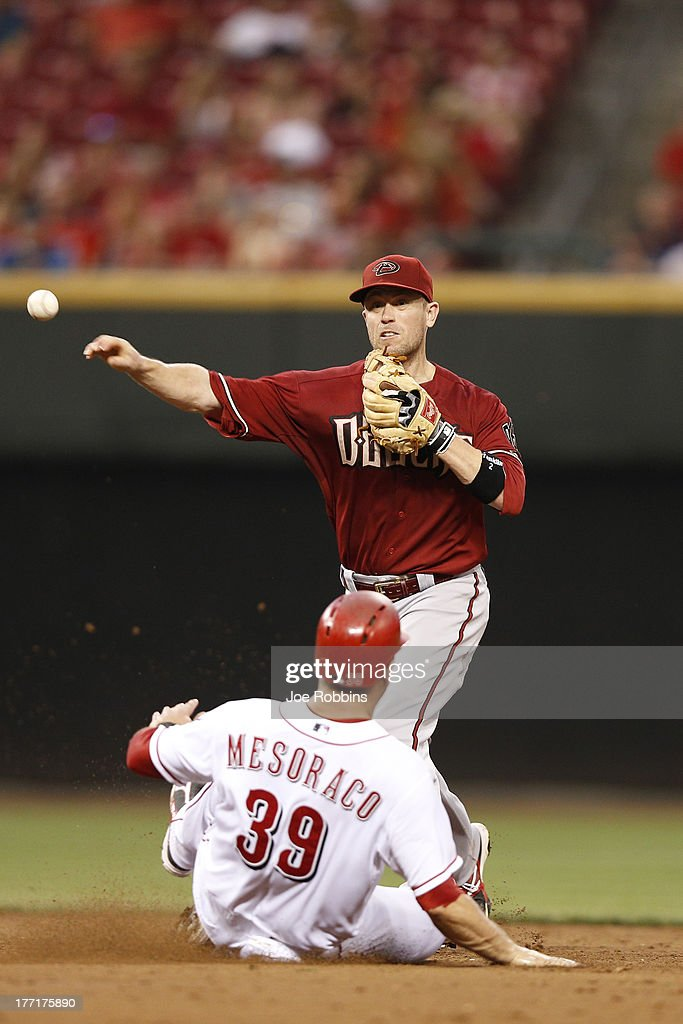 <a gi-track='captionPersonalityLinkClicked' href=/galleries/search?phrase=Aaron+Hill+-+Baseball+Player&family=editorial&specificpeople=239242 ng-click='$event.stopPropagation()'>Aaron Hill</a> #2 of the Arizona Diamondbacks turns a double play against <a gi-track='captionPersonalityLinkClicked' href=/galleries/search?phrase=Devin+Mesoraco&family=editorial&specificpeople=5745587 ng-click='$event.stopPropagation()'>Devin Mesoraco</a> #39 of the Cincinnati Reds during the game at Great American Ball Park on August 21, 2013 in Cincinnati, Ohio.