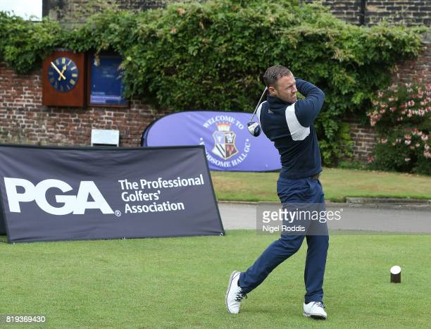 Aaron Hodkin of Wheatley Golf Club during the Golfbreakscom PGA Fourball Championship North Qualifier at Woodsome Hall Golf Course on July 20 2017 in...