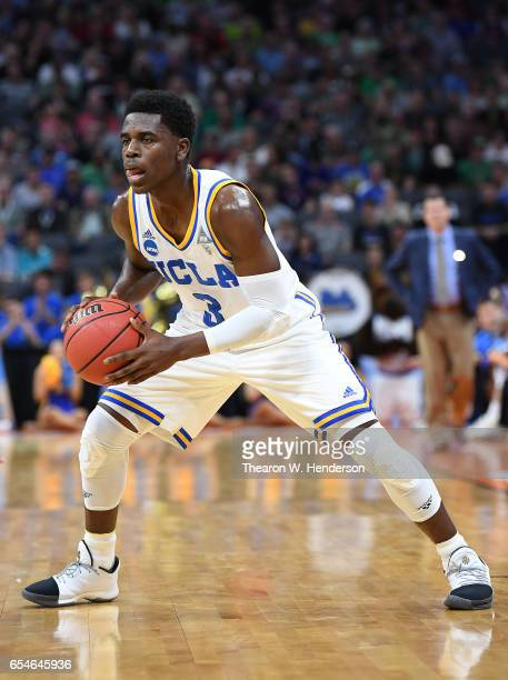 Aaron Holiday of the UCLA Bruins handles the ball against the Kent State Golden Flashes during the first round of the 2017 NCAA Men's Basketball...