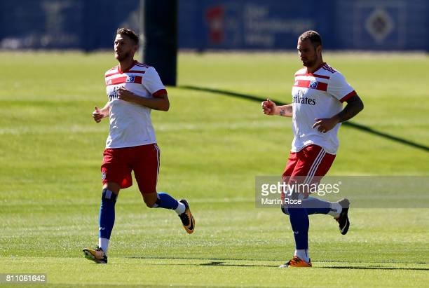 Aaron Hunt and Pierre Michel Lasogga in action during a training session of Hamburger SV at Volksparkstadion on July 9 2017 in Hamburg Germany