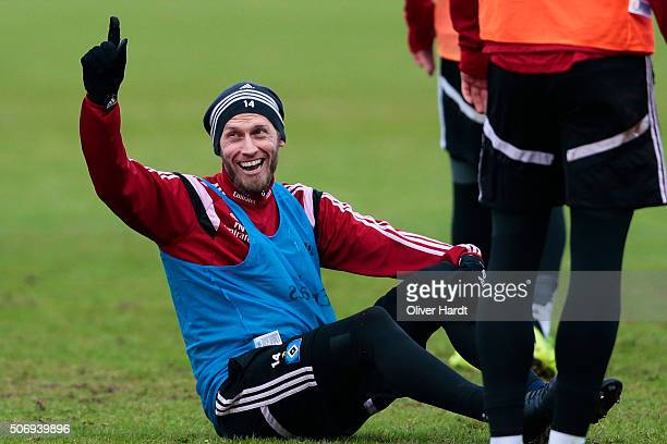 Aaron Hunt during the Hamburger SV training session on January 26 2016 in Hamburg Germany