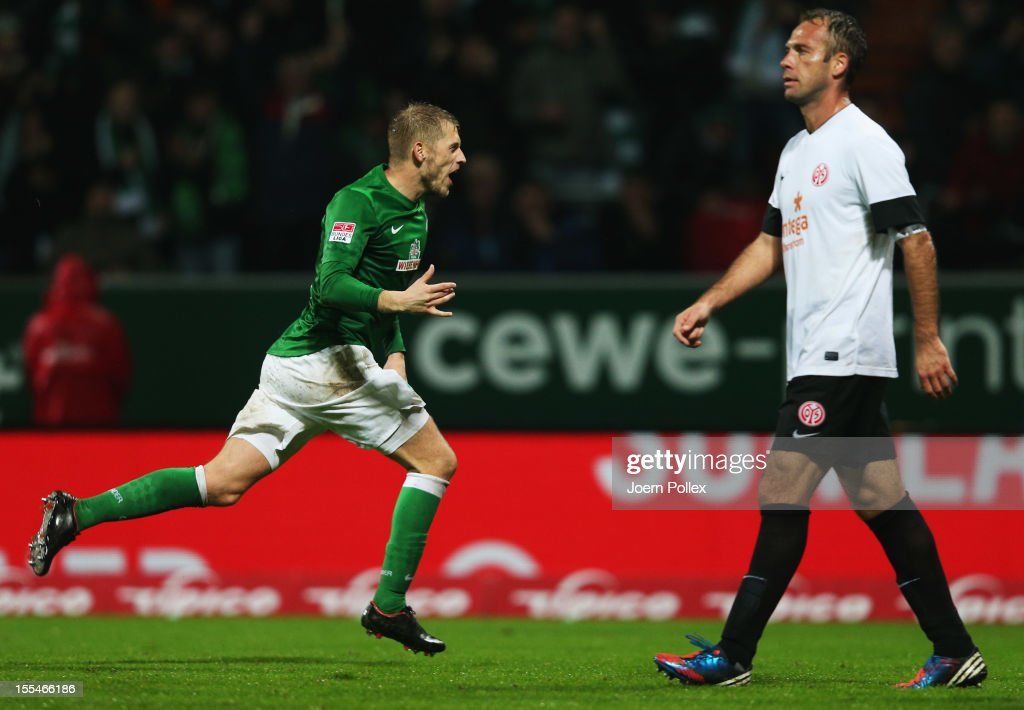 Aaron Hunt of Bremen celebrates after scoring his team's second goal during the Bundesliga match between SV Werder Bremen and 1. FSV Mainz 05 at Weser Stadium on November 4, 2012 in Bremen, Germany.