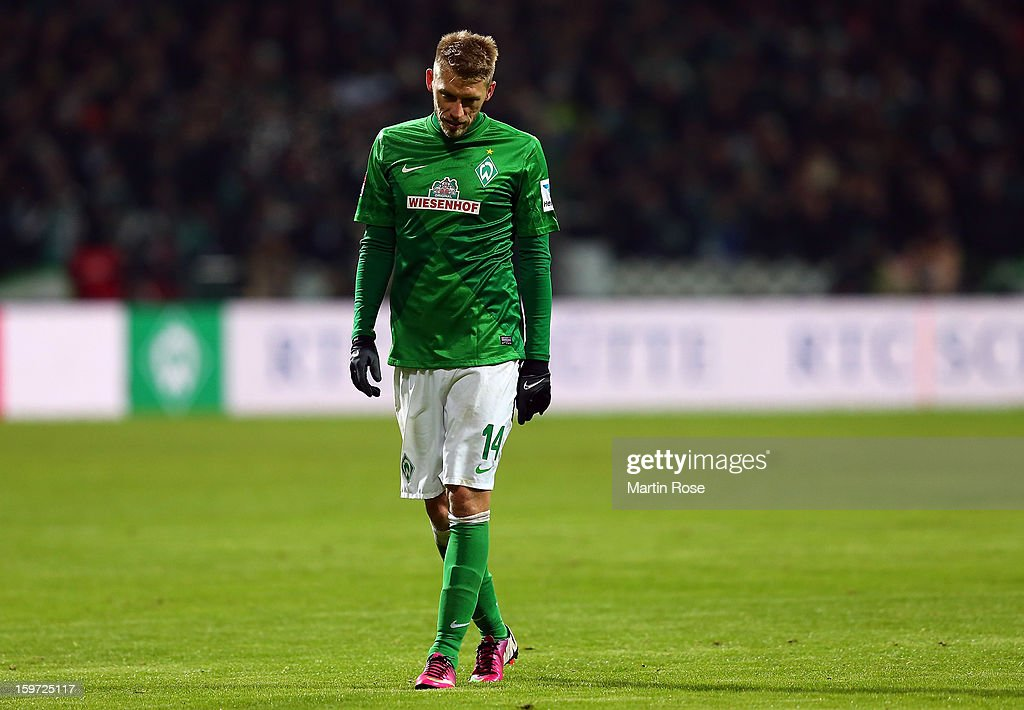 Aaron Hunt of Bremen looks dejected during the Bundesliga match between Werder Bremen and Borussia Dortmund at Weser Stadium on January 19, 2013 in Bremen, Germany.