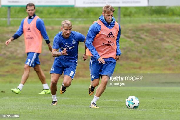 Aaron Hunt of Hamburg and Lewis Holtby of Hamburg battle for the ball during the Training Camp of Hamburger SV on July 23 2017 in Laengenfeld Austria