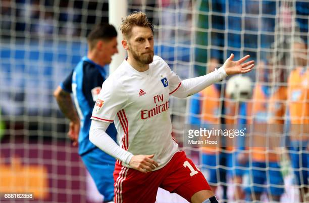 Aaron Hunt of Hamburg celebrates after scoring the 2nd goal during the Bundesliga match between Hamburger SV and TSG 1899 Hoffenheim at...