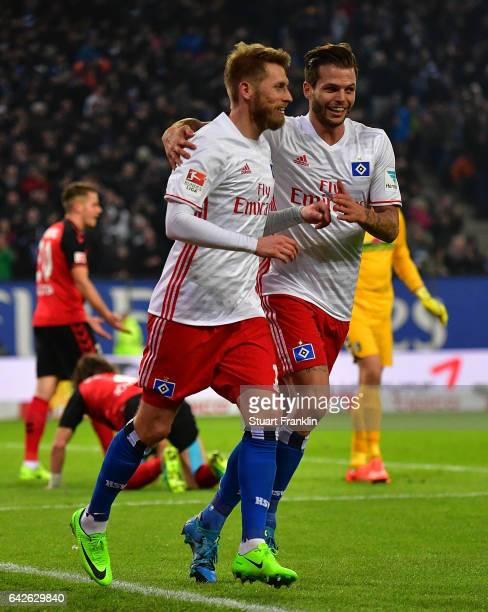 Aaron Hunt of Hamburg celebrates scoring his goal with Dennis Diekmeier during the Bundesliga match between Hamburger SV and SC Freiburg at...