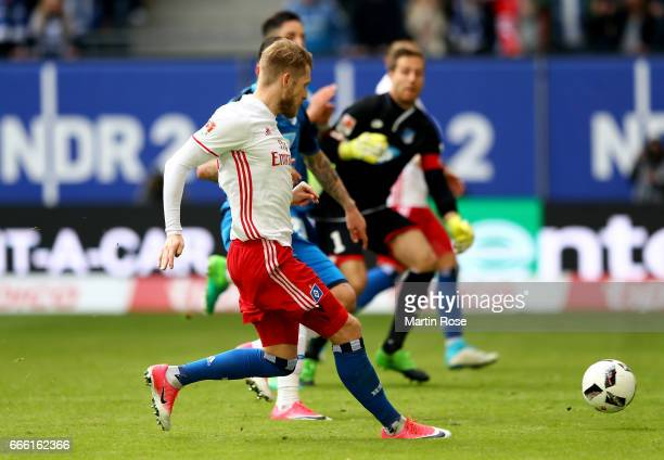 Aaron Hunt of Hamburg is scoring the 2nd goal during the Bundesliga match between Hamburger SV and TSG 1899 Hoffenheim at Volksparkstadion on April 8...