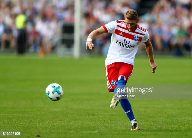 Aaron Hunt of Hamburg runs with the ball during the preseason friendly match between Holstein Kiel and Hamburger SV at GruemmiArena on July 19 2017...