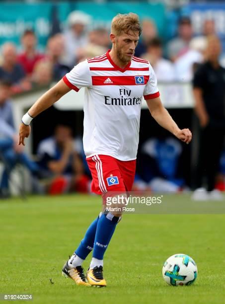 Aaron Hunt of Hamburg runs with the ball during the preseason friendly match between Holstein Kiel and Hamburger SV at GruemmiArena on July 19 2017...
