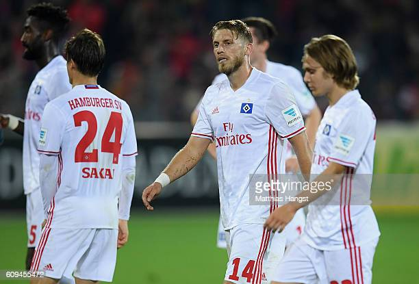 Aaron Hunt of Hamburg shows his disappointment after the Bundesliga match between SC Freiburg and Hamburger SV at SchwarzwaldStadion on September 20...