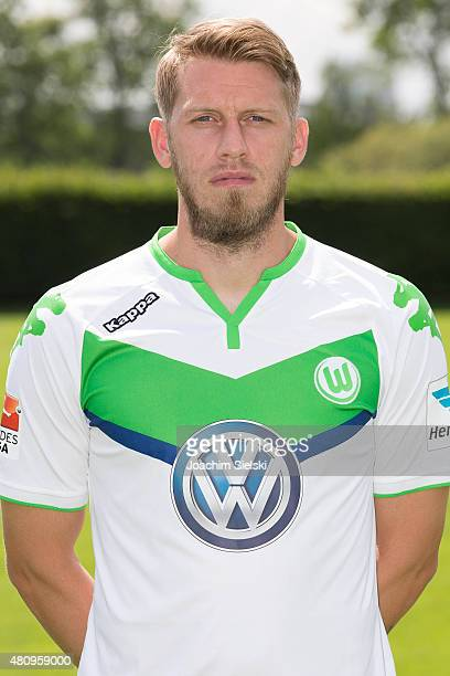 Aaron Hunt poses during the team presentation of VfL Wolfsburg at Volkswagen Arena on July 16 2015 in Wolfsburg Germany