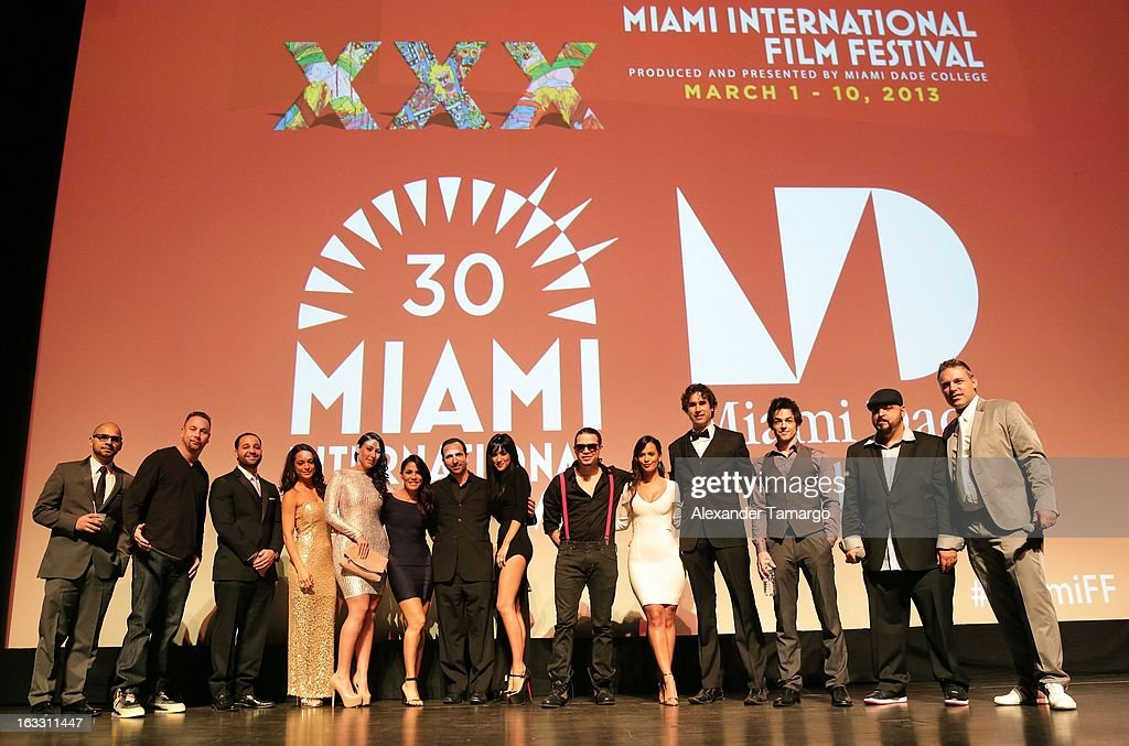 Aaron J. Salgado, J. Bishop, Andres Dominguez, Belkys Galvez, Crystal Cubria, Oscar Torre, Joanna Galis-Menendez, Benhur Sito Barrero, Vicky Mueller, David Lago, Jorge 'Jokes' Yanes and Jaie Laplante attend 'Eenie Meenie Miney Moe' Premiere during the 2013 Miami International Film Festival at Gusman Center for the Performing Arts on March 7, 2013 in Miami, Florida.