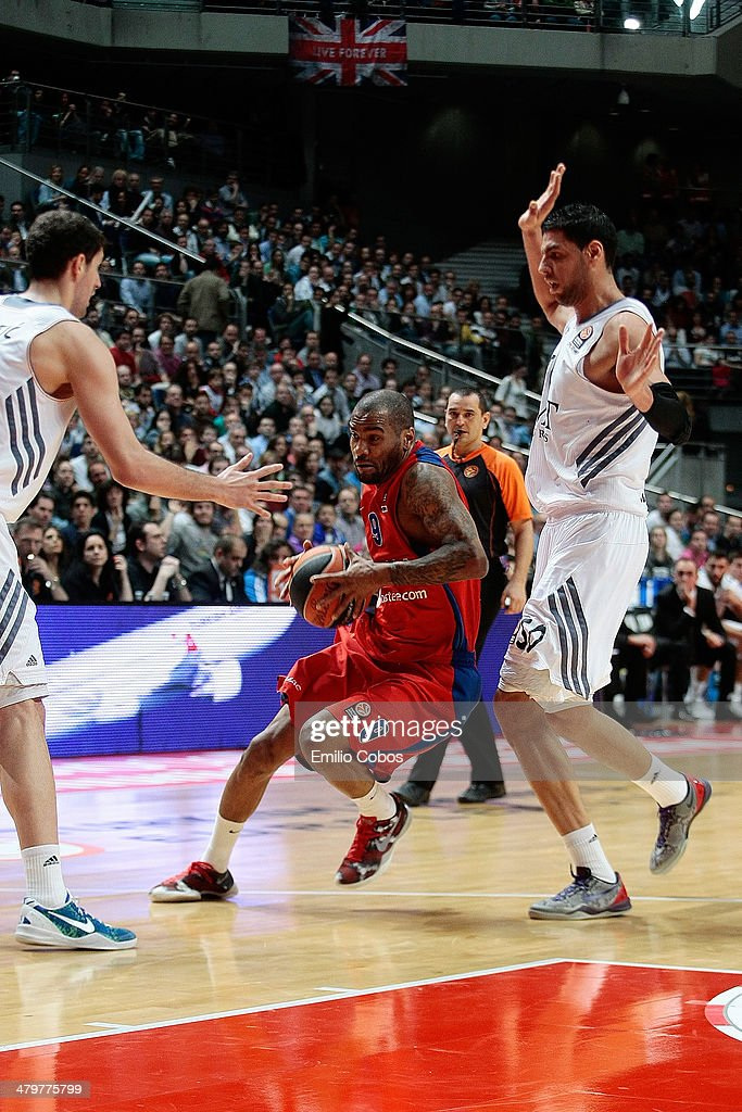 Aaron Jackson, #9 of CSKA Moscow in action during the 2013-2014 Turkish Airlines Euroleague Top 16 Date 11 game between Real Madrid v CSKA Moscow at Palacio Deportes Comunidad de Madrid on March 20, 2014 in Madrid, Spain.