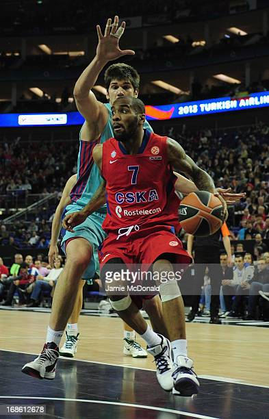 Aaron Jackson of CSKA Moscow tussles with Marco Todorovic of FC Barcelona Regal during the Turkish Airlines EuroLeague Final Four third place match...