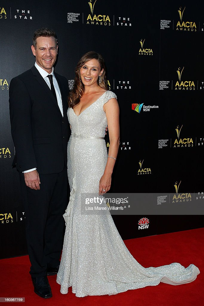 Aaron Jeffrey and Zoe Naylor arrive at the 2nd Annual AACTA Awards at The Star on January 30, 2013 in Sydney, Australia.