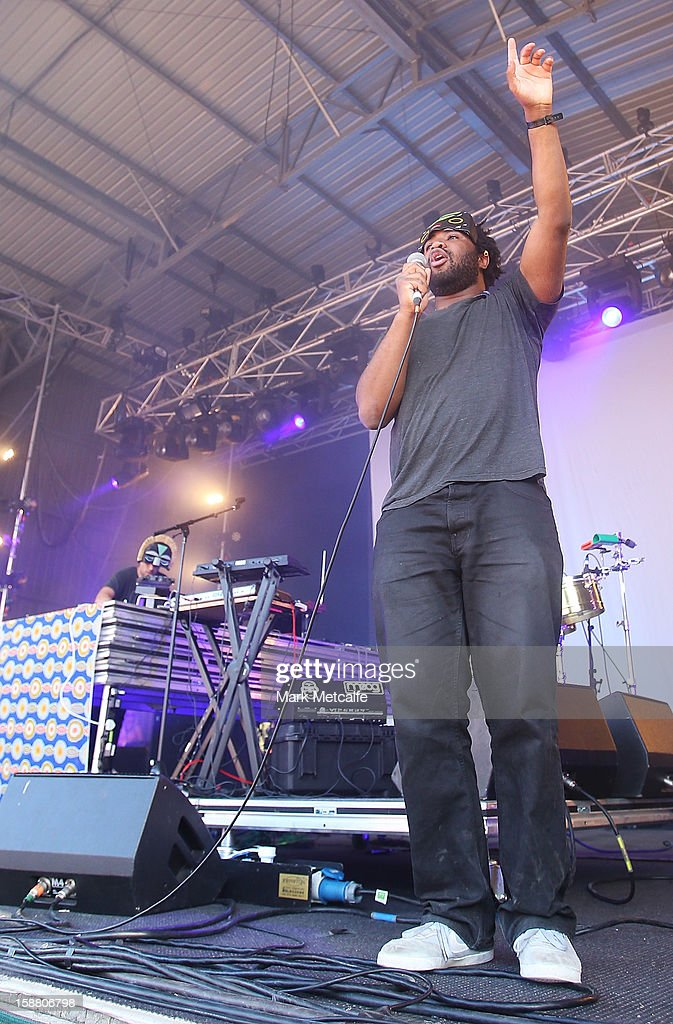 Aaron Jerome of SBTRKT performs live on stage at The Falls Music and Arts Festival on December 30, 2012 in Lorne, Australia.