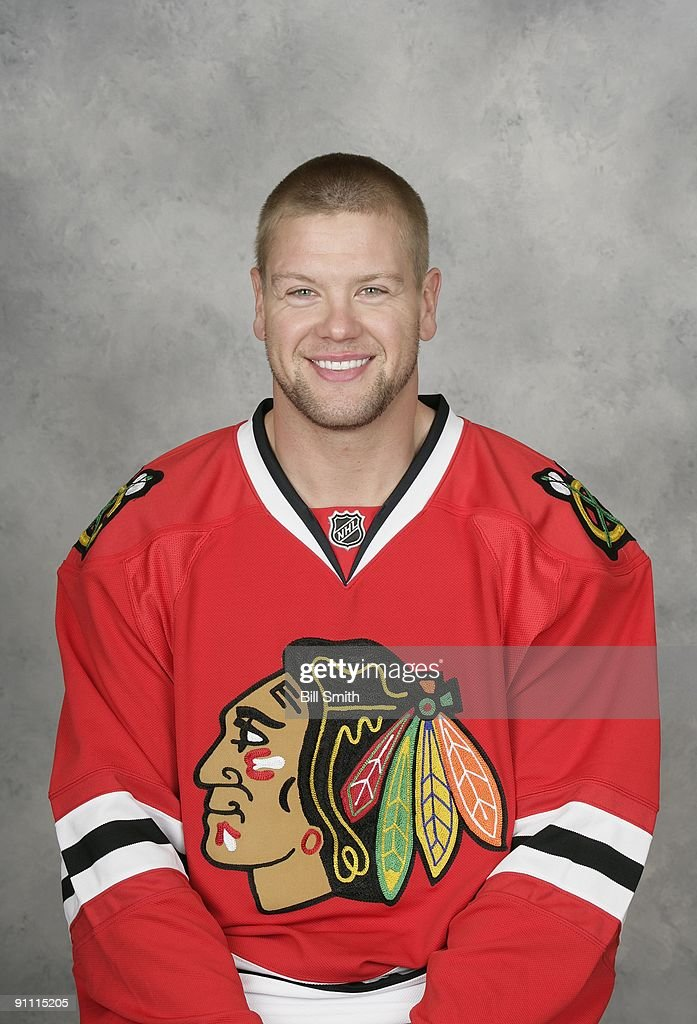 Aaron Johnson of the Chicago Blackhawks poses for his official headshot for the 2009-2010 NHL season.