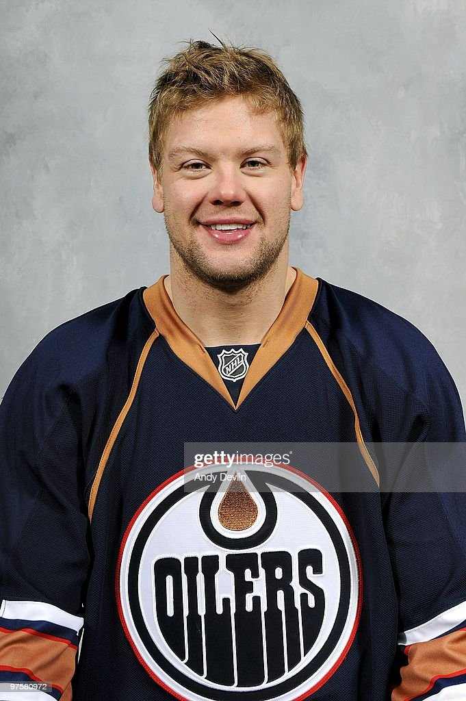 Aaron Johnson #2 of the Edmonton Oilers poses for his official team headshot on March 8, 2010 at Rexall Place in Edmonton, Alberta, Canada.