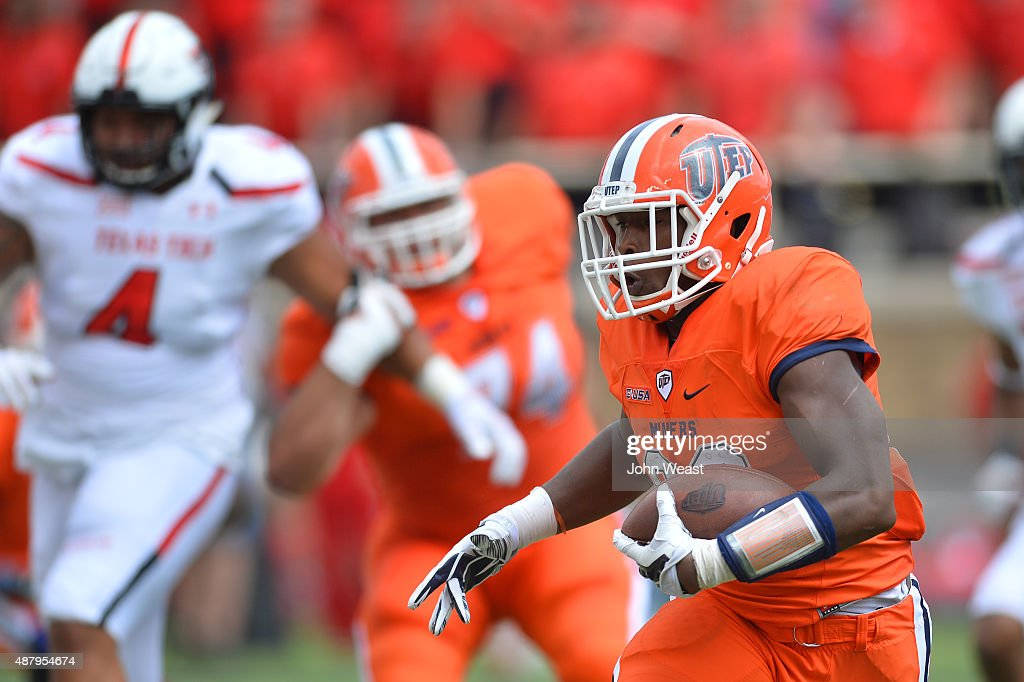 Aaron Jones of the UTEP Miners carries the ball against the Texas Tech Red Raiders on September 12 2015 at Jones ATT Stadium in Lubbock Texas Texas...