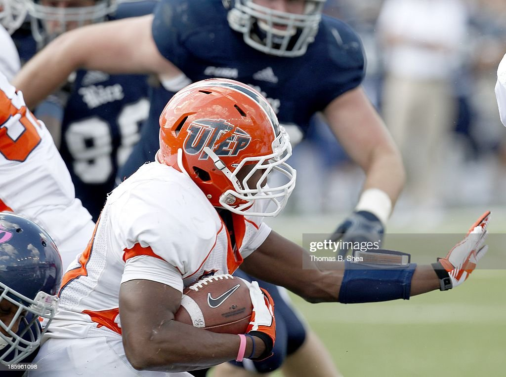 Aaron Jones #29 of the UTEP Miners rushes against the Rice Owls on October 26, 2013 at Rice Stadium in Houston, Texas.