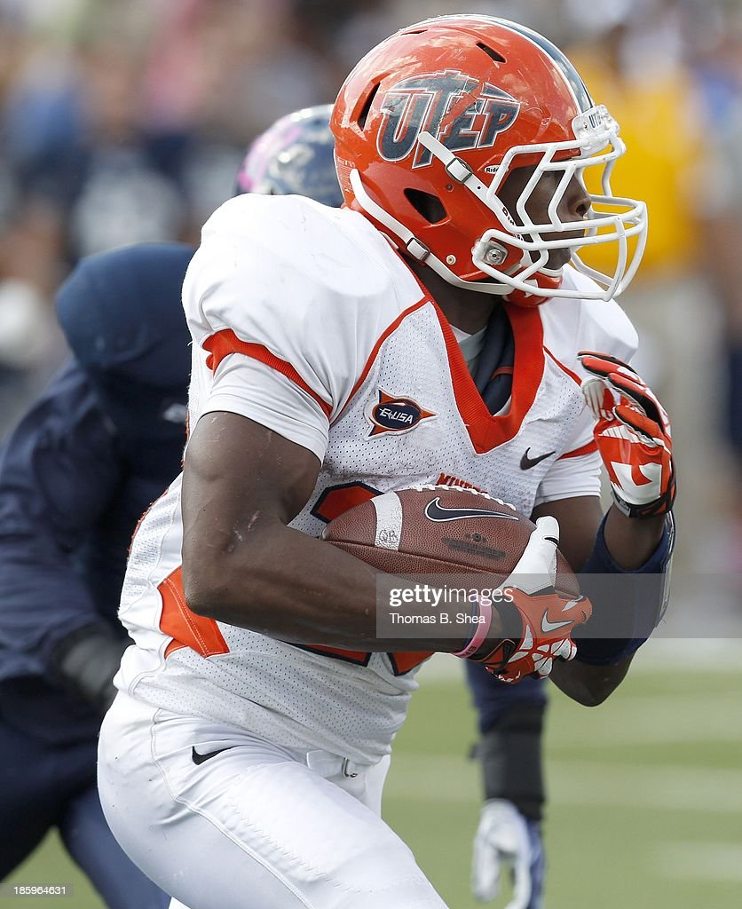 Aaron Jones #29 of the UTEP Miners rushes against the Rice Owls on October 26, 2013 at Rice Stadium in Houston, Texas. Rice won 45 to 7.