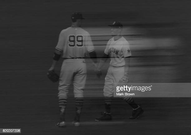 Aaron Judge of the New York Yankees and Mookie Betts of the Boston Red Sox and American League during the 88th MLB AllStar Game at Marlins Park on...