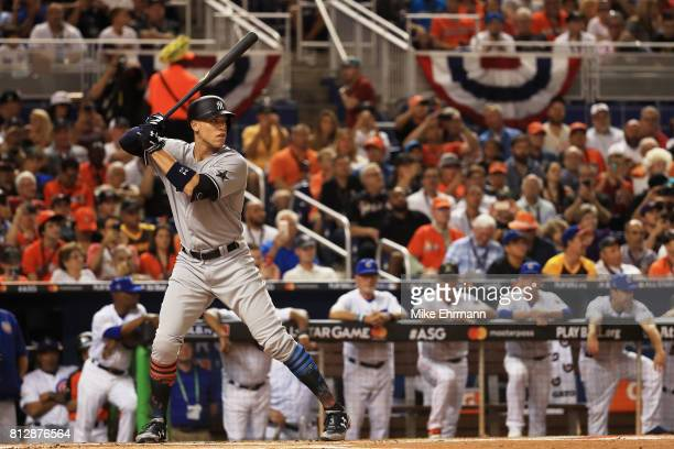 Aaron Judge of the New York Yankees and the American League bats in the first inning against the National League AllStars during the 88th MLB AllStar...