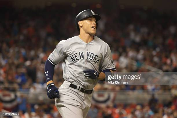Aaron Judge of the New York Yankees and the American League reacts as he flies out in the fifth inning against the National League during the 88th...