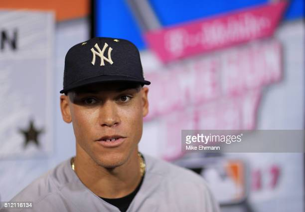 Aaron Judge of the New York Yankees and the American League speaks with the media during Gatorade AllStar Workout Day ahead of the 88th MLB AllStar...