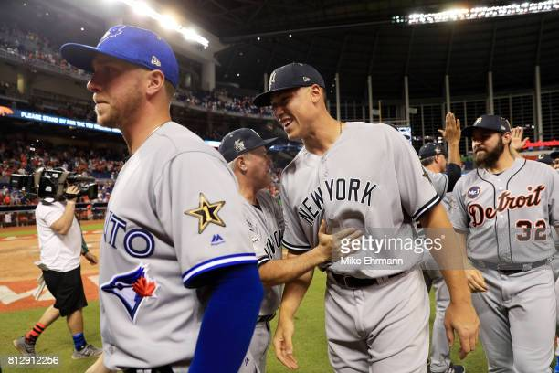 Aaron Judge of the New York Yankees and the American League celebrates defeating the National League 21 in the 88th MLB AllStar Game at Marlins Park...