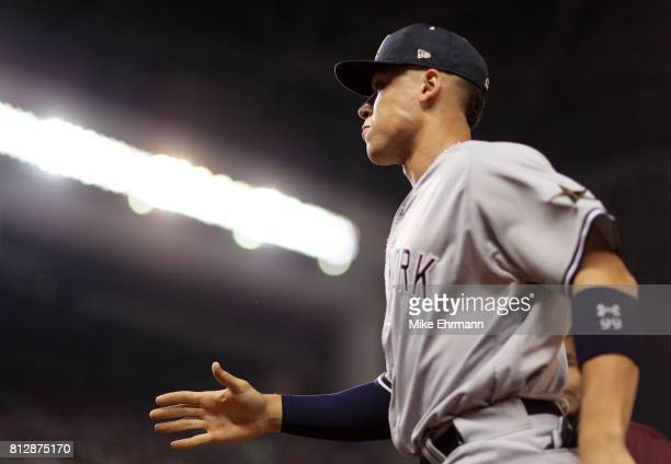 Aaron Judge of the New York Yankees and the American League walks on the field prior to the 88th MLB AllStar Game at Marlins Park on July 11 2017 in...