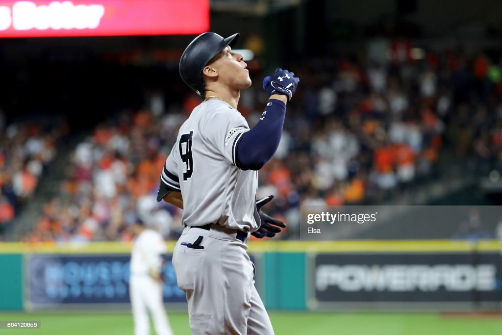 Aaron Judge #99 of the New York Yankees celebrates after hitting a solo home run against Brad Peacock #41 of the Houston Astros during the eighth inning in Game Six of the American League Championship Series at Minute Maid Park on October 20, 2017 in Houston, Texas.