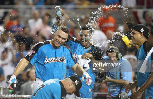 Aaron Judge of the New York Yankees celebrates after winning the TMobile Home Run Derby at Marlins Park on July 10 2017 in Miami Florida