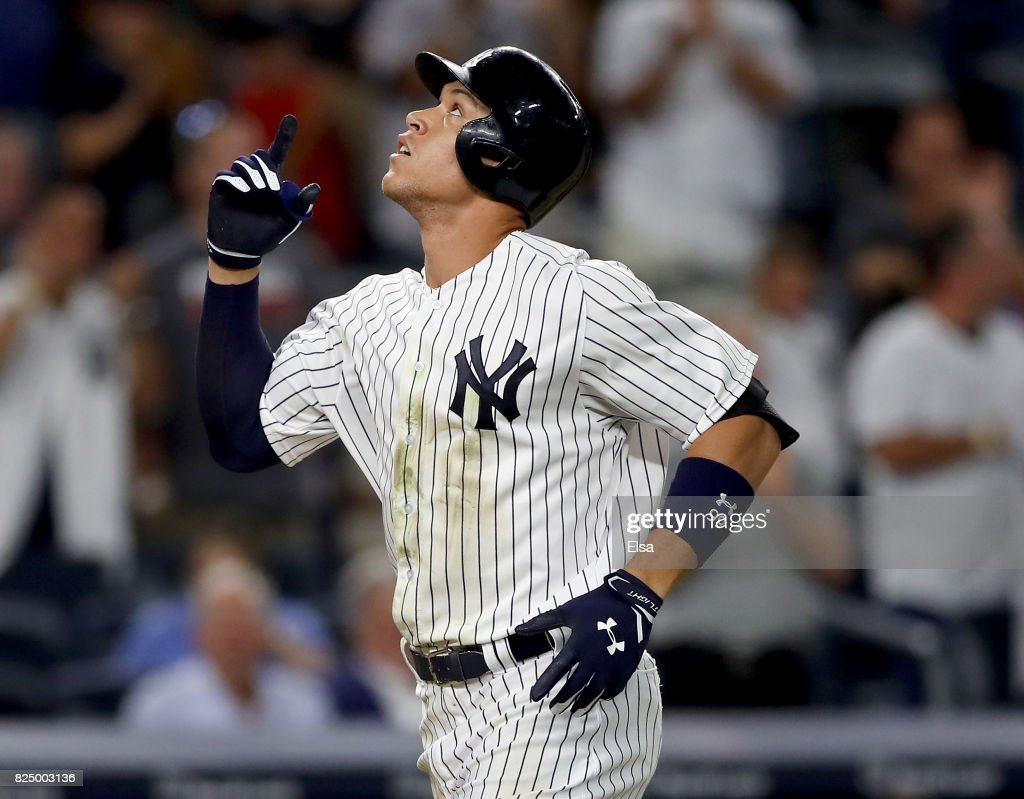 Aaron Judge #99 of the New York Yankees celebrates his solo home run in the fifth inning against the Detroit Tigers on July 31, 2017 at Yankee Stadium in the Bronx borough of New York City.