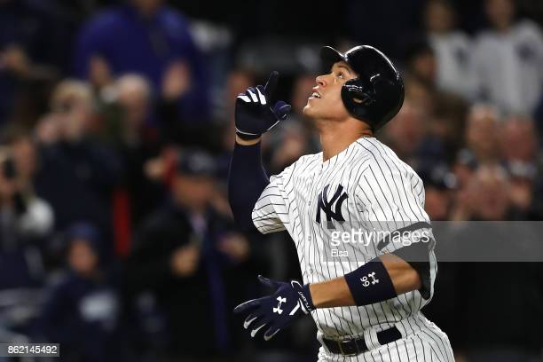 Aaron Judge of the New York Yankees celebrates hitting a 3run home run against the Houston Astros during the fourth inning in Game Three of the...