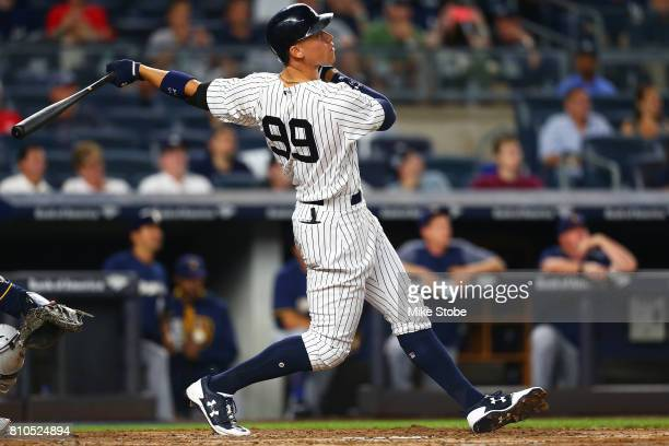 Aaron Judge of the New York Yankees connect on a solo home run in the fifth inning against the Milwaukee Brewers at Yankee Stadium on July 7 2017 in...