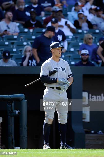 Aaron Judge of the New York Yankees gets ready to bat against the Baltimore Orioles at Oriole Park at Camden Yards on September 7 2017 in Baltimore...