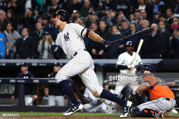 Aaron Judge of the New York Yankees hits a double during the eighth inning against the Houston Astros in Game Four of the American League...