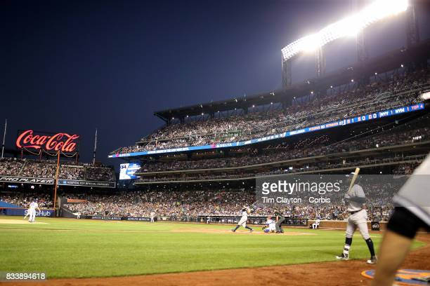 Aaron Judge of the New York Yankees hits a solo home run off pitcher Robert Gsellman of the New York Mets during the New York Yankees Vs New York...
