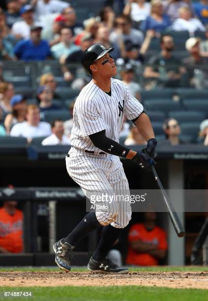 Aaron Judge of the New York Yankees hits a tworun home run against Jayson Aquino of the Baltimore Orioles in the seventh inning during their game at...