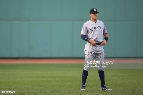 Aaron Judge of the New York Yankees looks on before a game against the Boston Red Sox at Fenway Park on August 19 2017 in Boston Massachusetts