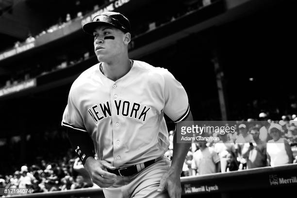 Aaron Judge of the New York Yankees looks on before game one of a doubleheader against the Boston Red Sox at Fenway Park on July 16 2017 in Boston...