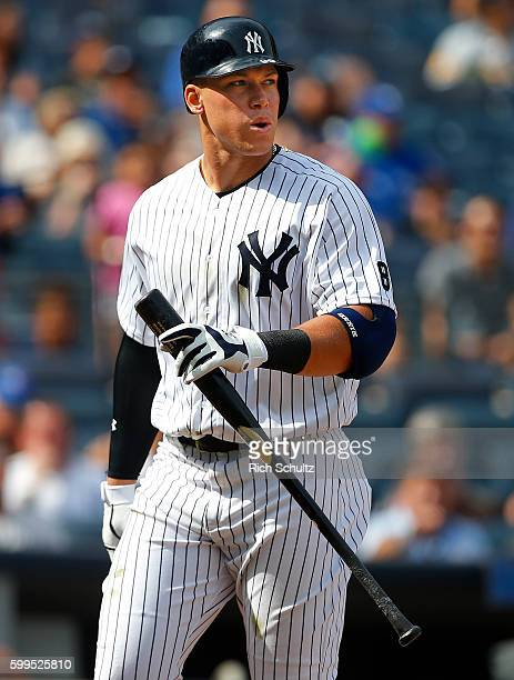 Aaron Judge of the New York Yankees reacts after striking out against the Toronto Blue Jays in the sixth inning during a game at Yankee Stadium on...