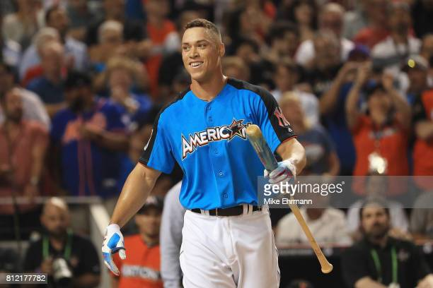 Aaron Judge of the New York Yankees reacts during the TMobile Home Run Derby at Marlins Park on July 10 2017 in Miami Florida