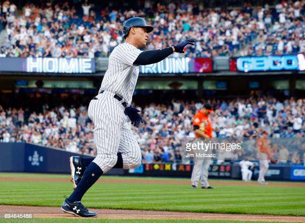 Aaron Judge of the New York Yankees runs the bases after his first inning home run against Chris Tillman of the Baltimore Orioles at Yankee Stadium...