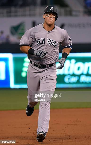 Aaron Judge of the New York Yankees runs the bases after hitting a tworun home run in the second inning against the Kansas City Royals at Kauffman...