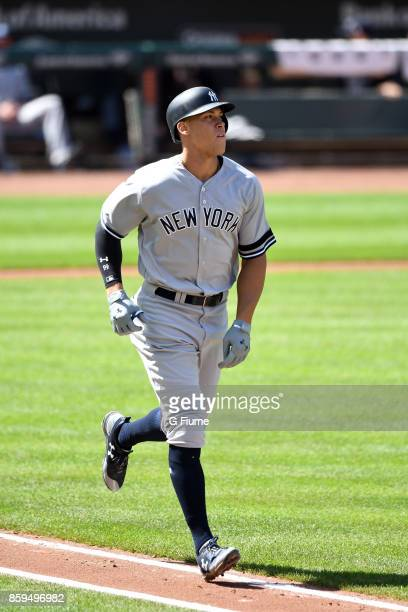 Aaron Judge of the New York Yankees runs to first base against the Baltimore Orioles at Oriole Park at Camden Yards on September 7 2017 in Baltimore...