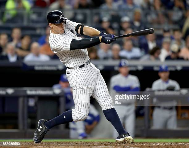 Aaron Judge of the New York Yankees singles in the sixth inning against the Kansas City Royals on May 24 2017 at Yankee Stadium in the Bronx borough...